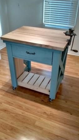 Duck-Egg blue kitchen Island w/ Butcher Block Top | Do It Yourself Home Projects from Ana White