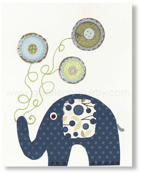 Arte per bambini scuola materna arredamento - scuola materna bambino stampa - bambini - arredamento camera ragazzi - vivaio parete arte stampa - elefante - Yoyo divertimento