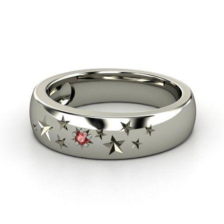 Sterling Silver Ring with Red Garnet | Supernova Band | Gemvara