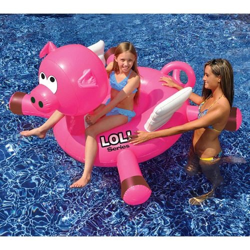 "Inflatable Pool Toy Kids Ride-On 54"" Pig Riding Water Sea Game Heavy Duty Pink  #InflatablePoolToy"