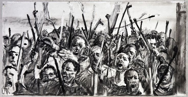 Drawing for 'Other Faces', (Protestors - close up), 2011 Charcoal and coloured pencil on paper- William Kentridge