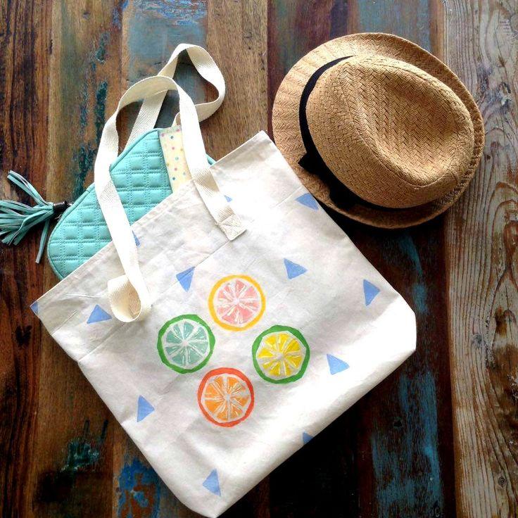 Tote Bag - Citrus Tote Bag - Block printed - Beige cotton Tote Bag - Handprinted Tote Bag by UniqueLulu on Etsy