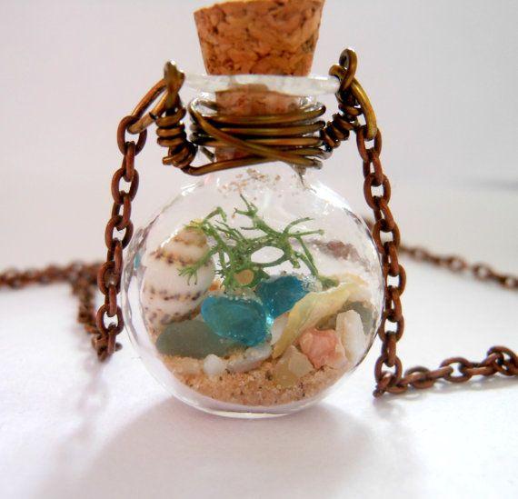 Flacon de verre collier verre bouteille collier Lake Michigan | Etsy