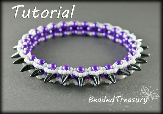 """Graphite"" - beadweaving bracelet tutorial. Spiky bangle in bold colors of hematite, purple and white made with Czech Spike beads, 4mm round glass pearls and seed beads size 11/0. Bangle pattern. Seed bead pattern. Spike beads pattern. By BeadedTreasury."