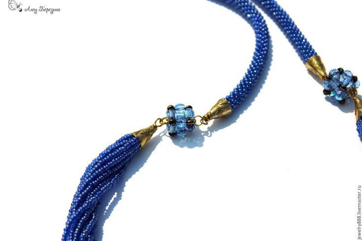 """Купить Колье из бисера """"Тайна океана"""" украшение на шею, длинное ожерелье - колье из бисера"""