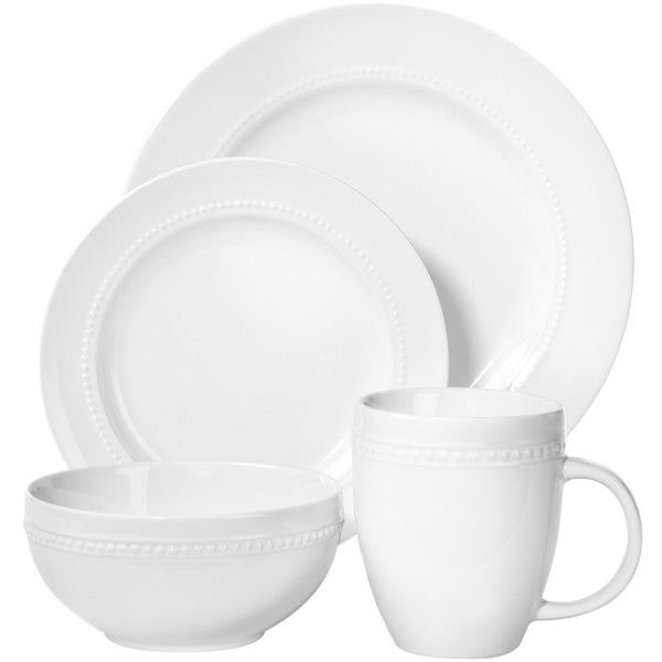 Porcelain 16pc Dinnerware Set White Beaded Rim   Threshold™ : Target ($35)  ❤ Liked On Polyvore Featuring Home, Kitchen U0026 Dining, Dinnerware, White  Dishware ...