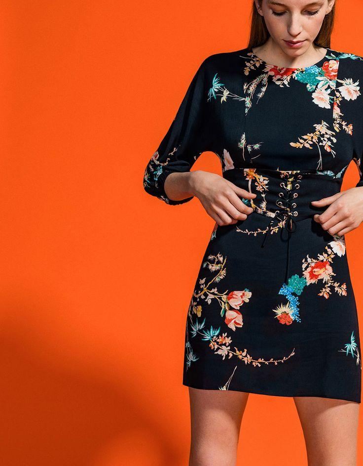 Corset effect dress with floral print - Dresses - Bershka Serbia