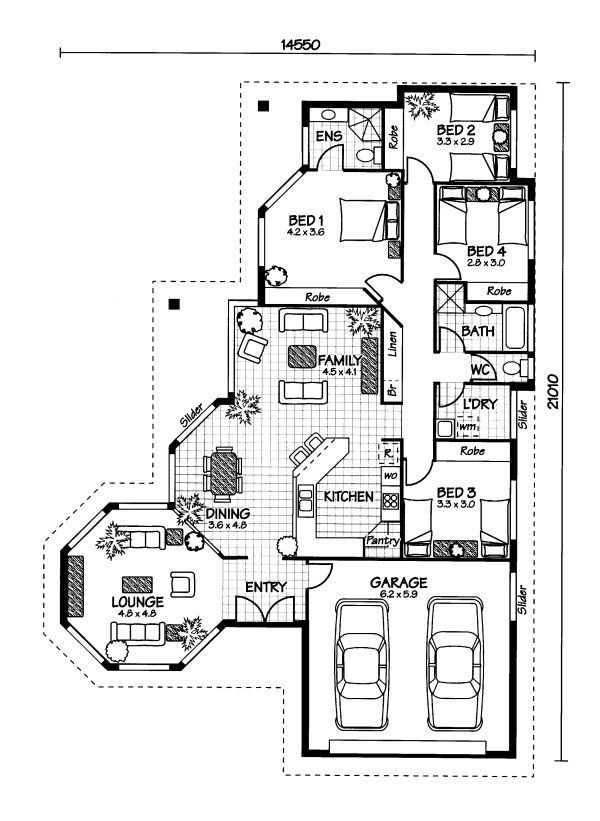 Get rid of bedrooms 2 & 3 use the space for an enlarged ensuite & outdoor entertainment area instead... The Magnetic « Australian House Plans