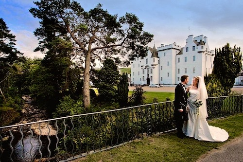 The Happy Couple with Blair Castle in the background.