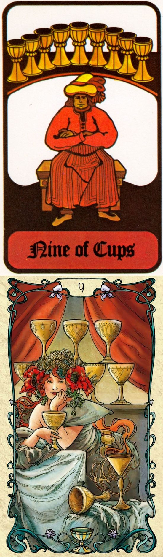 Nine of Cups: luxury and greed (reverse). Hoi Poloi Tarot deck and Mucha Tarot deck: free tarot card reading online accurate, tarot acuario and tarot reading wiki. The best guessing games jar and tarot reading tips. #oldways #tarotspread #halloweenmakeup #pentagram