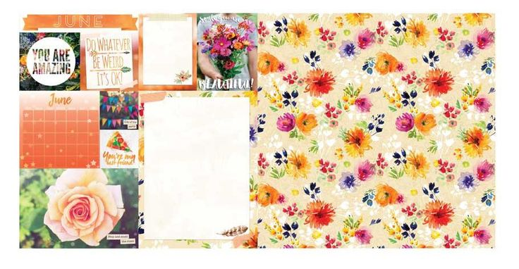 June Calendar Girl 12x12 Scrapbook Paper - 5 Sheets by Bo Bunny