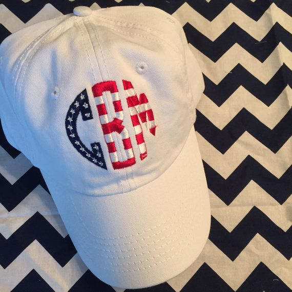American Flag Monogrammed Baseball Cap Hat by Bouffants on Etsy