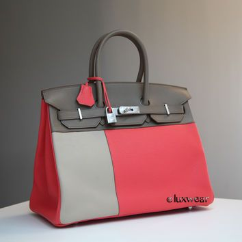 ROSE JAIPUR and Gray 35cm HERMES Tricolor BIRKIN with silver hardware