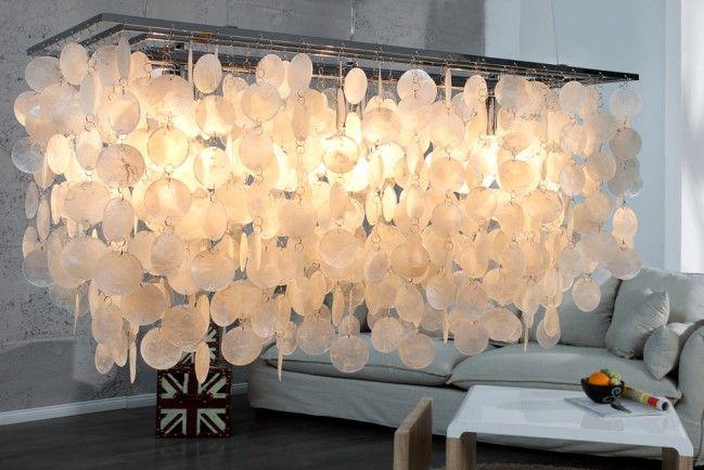 """Design Hängelampe SHELL REFLECTIONS 80cm Muschellampe Perlmutt 80cm - Die faszinierende Hängeleuchte """"SHELL REFLECTIONS"""" im besonderen Design setzt Maßstäbe in der Welt der Lampen.Diverse Muschel-Plät"""