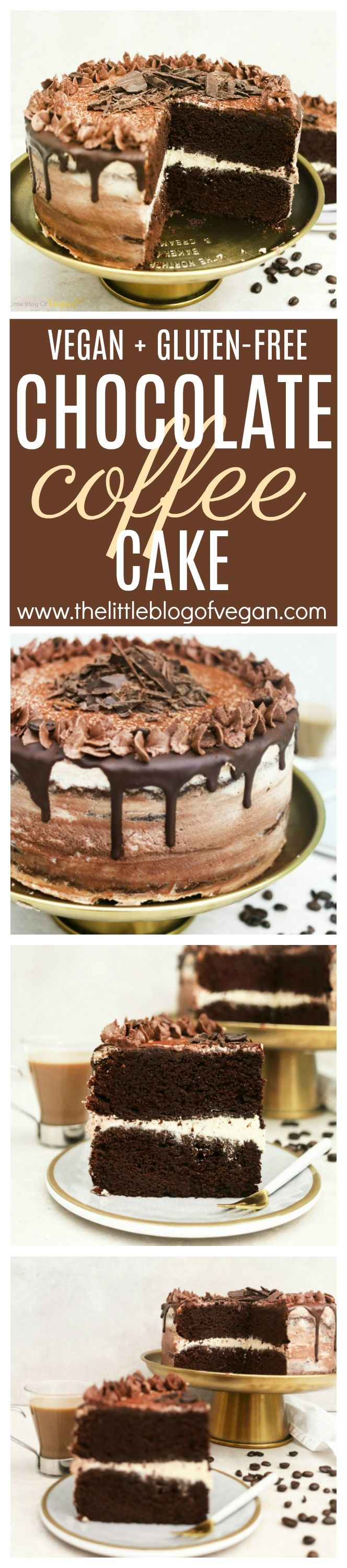 Vegan + gluten-free chocolate coffee cake! A moist cake with a latte buttercream filling, with a chocolate & coffee buttercream coat! PS...its easy to make!