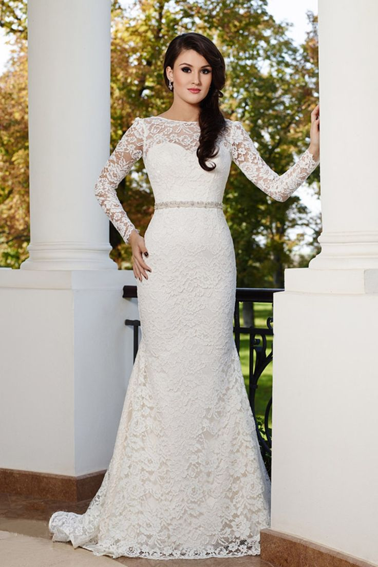 Timeless Illusion Dropped Train Lace Ivory Long Sleeve Wedding Dress with Appliques LWAT15026 #dress #landybridal