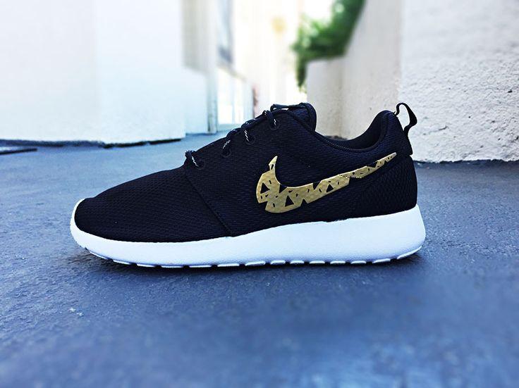 Womens Custom Nike Roshe Run shoes, Gold and Black tribal design, triangles,  trendy