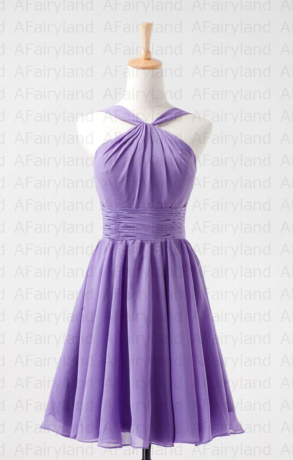 Chiffon bridesmaid dress party dress in knee-length/halter neck/light purple/lavender/lilac on Etsy, $58.00