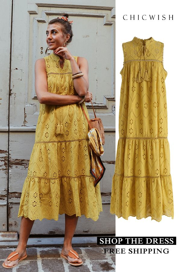 f4021906fceff Try To Be Boho Embroidered Eyelet Maxi Dress in Mustard yellow L in ...