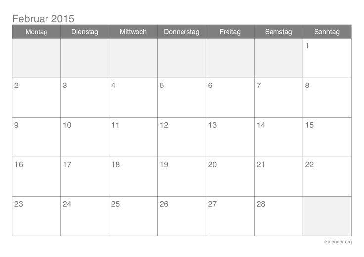 Monatskalender Februar 2015 Zum Ausdrucken