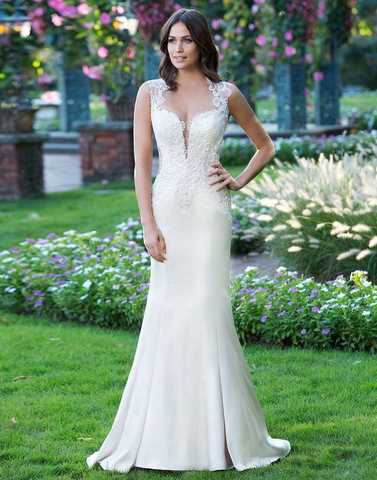 Sincerity wedding dress style 3921 fit and flare stretch for Queen anne neckline wedding dress