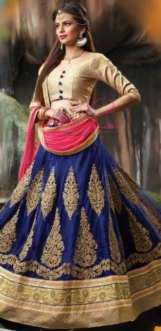 Ritu Kumar Lehenga Choli Blue Net Silk Semi Stitched ND1103D10167