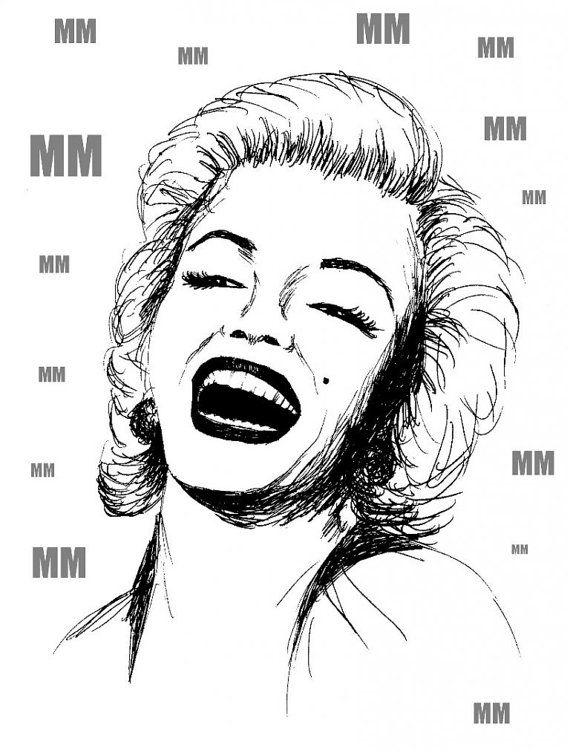 Unique, original design for use as a T-shirt design, poster, illustration or whatever you want. You are free to modify.  Marilyn Monroe was drawn