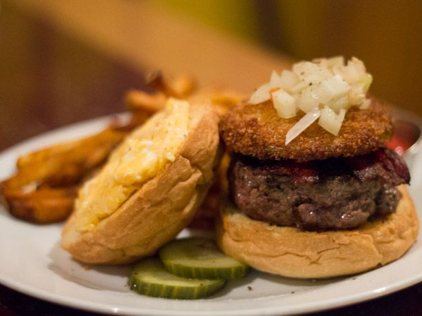 A tasty burger with Southern Comfort food trimmings. #Charleston, SC: Small Plates and Sizeable Burgers at Big Gun Burger. #recommended #restaurant