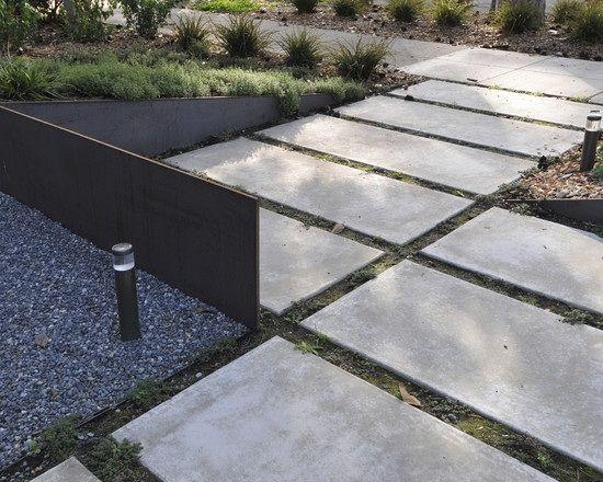 minimalistischer Garten-Gestaltung Ideen-Bodenbelag Beton steine