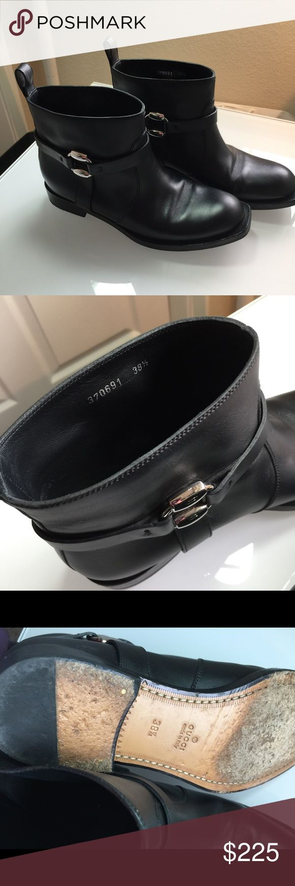 Gucci women's leather boots 7.5 The size is 38.5 this converts to 7.5 Excellent condition minor wear sole and a few small scuffs  I will polish them up 1.25 heel Gucci Shoes Ankle Boots & Booties