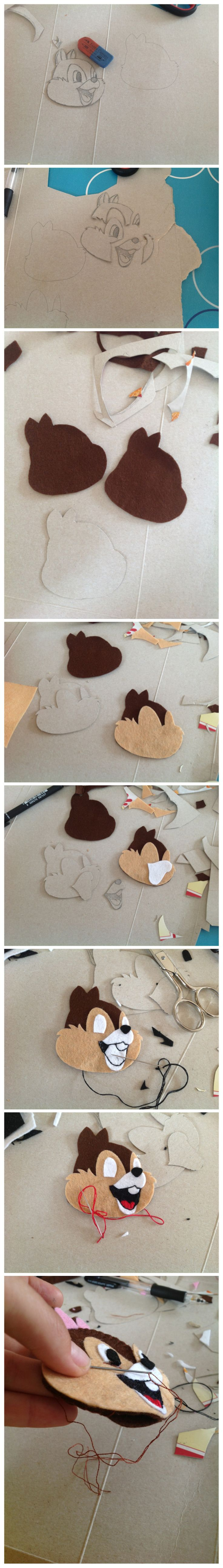 How I prepare my own felt patterns! Chip'n Dale. - come creo i miei cartamodelli per feltro! Cip e Ciop