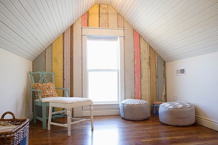 Love this colourful wood planked wall in the farmhouse playroom