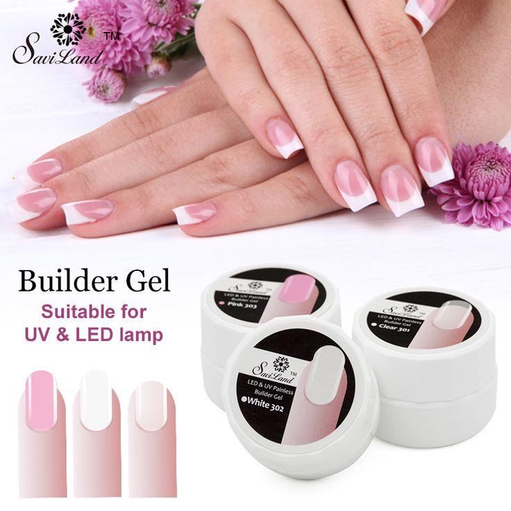Saviland 1 pz led uv del gel del costruttore nail polish estensione rosa white clear gel uv permanente forte punte false colla