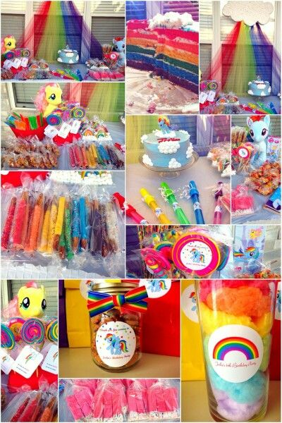 Rainbow Dash (My Little Pony) Party Favors. Chocolate dipped pretzel sticks in multicolors, fruity pebbles version of rice krispie treats, cotton candy, twizzlers and marshmallows for rainbows, bubbles and more!