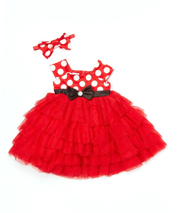 Look at this Red & Black Minnie Mouse Dress & Headband - Toddler & Girls on #zulily today!