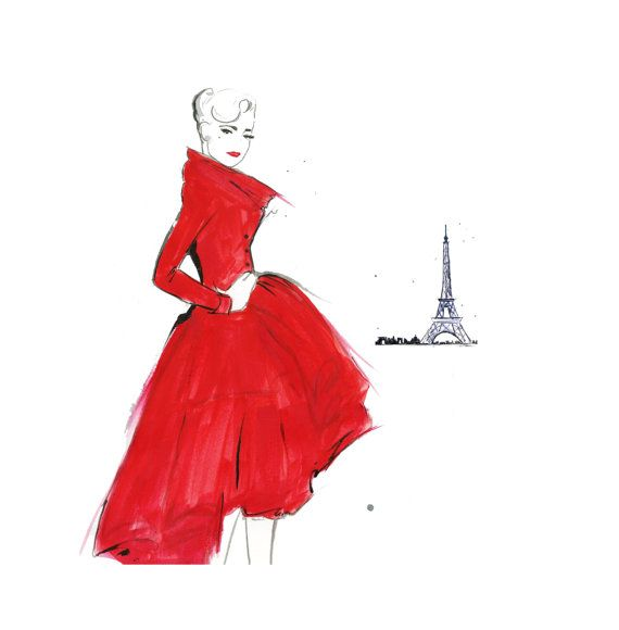 """Dior and Paris"" watercolor fashion illustration by JessicaIllustration (Jessica Durrant) @ Etsy #red"