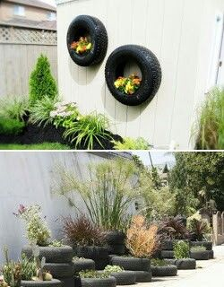 Recycled tyre garden decorations