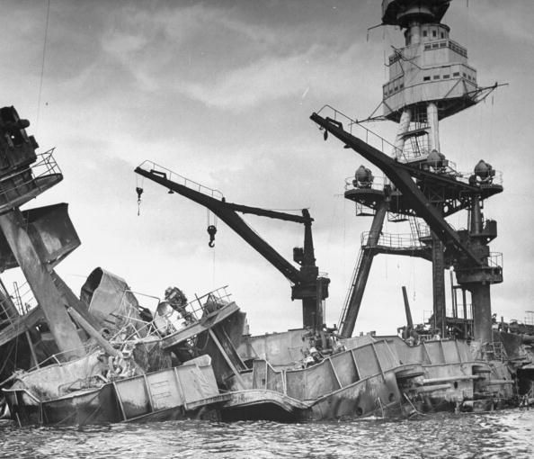 Exposed wreckage of the American battleship U.S.S. Arizona, most of which is now resting at the bottom of Pearl Harbor following a surprise Japanese attack on Dec. 7, 1941. (Photo by Bob Landry//Time Life Pictures/Getty Images)