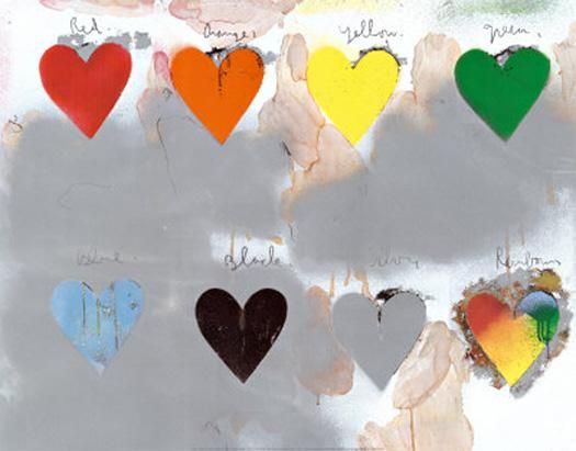 Jim Dine Hearts.  Variation: cut scrapbook paper and glue onto book pages