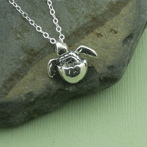 Baby Sea Turtle Necklace - sterling silver turtle pendant jewelry - gift