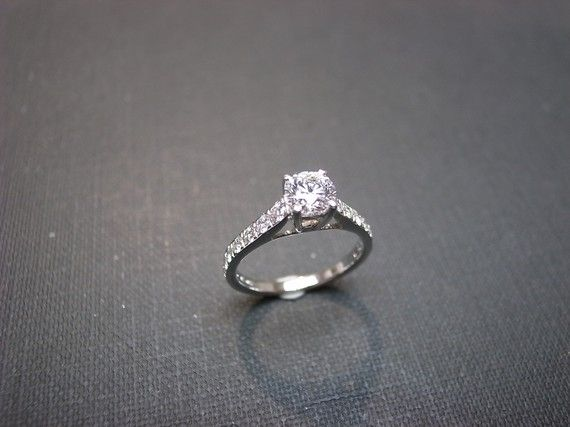 Diamond Wedding Engagement Ring in 14K White Gold