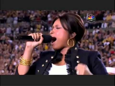 Jennifer Hudson sings the National Anthem USA.  MONDAY, FEBRUARY 8, 2016 12:45 PM NOON EST