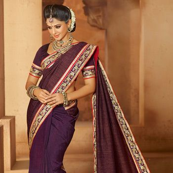 Dark Magenta Art Silk Saree With Blouse