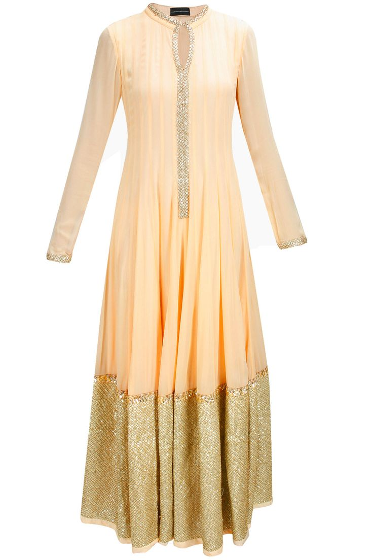 Peach gold embroidered floor length anarkali available only at Pernia's Pop-Up Shop.