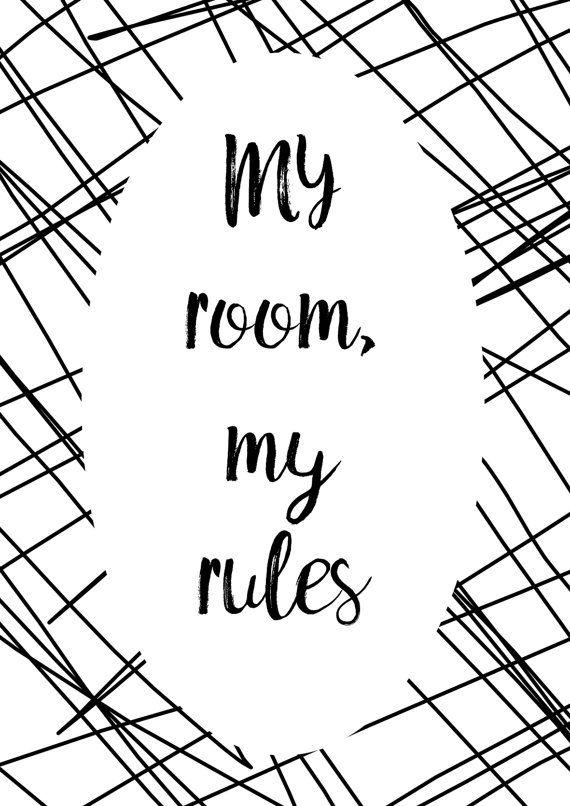 Mijn kamer mijn regels printbare Poster tiener door HearMeRoarQuotes