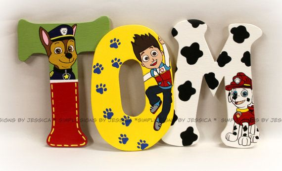 Paw Patrol Wall Lettering  for Playroom or Kid's bedroom   made to match Paw Patrol bedding
