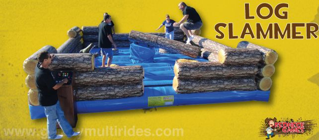 Can you survive the Log Slammer?! Four of you are trapped floating in the swamp on tree stumps trying to avoid the swinging log stumps. http://www.therodeobullcompany.com/Redneck-Games.html