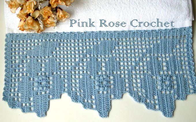 PINK ROSE CROCHET: Barrado Flor Azul A em Crochê Filet