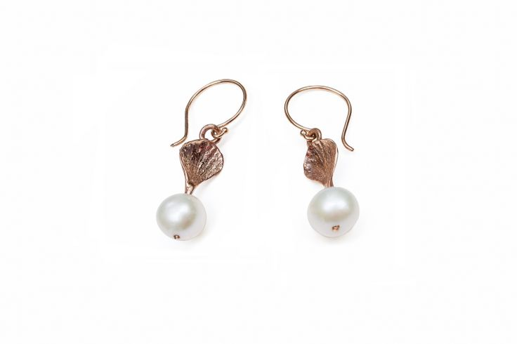 Rose Gold Hydrangea Earrings Round Pearl