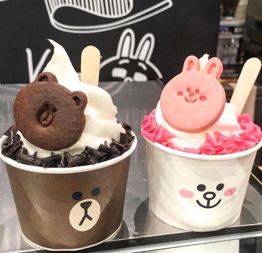 Soft serve ice cream ~ Line Brown & Connie